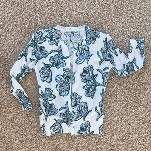 Halogen 100% Cotton Floral Cardigan